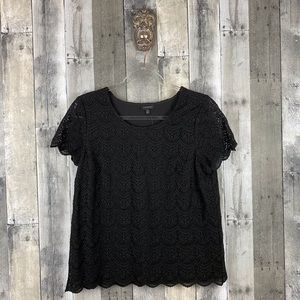 Talbots Black Floral Lace Layered Top Size 10 New!